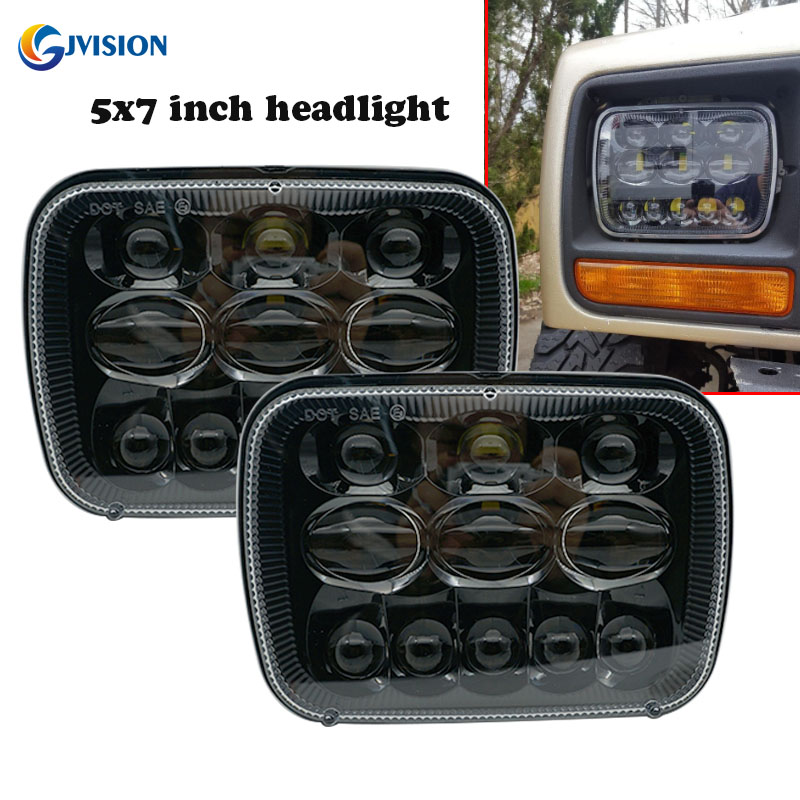 5 x 7 7x6 Inch LED Rectangular LED Headlight Headlamp Projector Replacement for Jeep Cherokee XJ Wrangler YJ Comanche MJ pair 5   x 7   inch 85w 5d rectangular