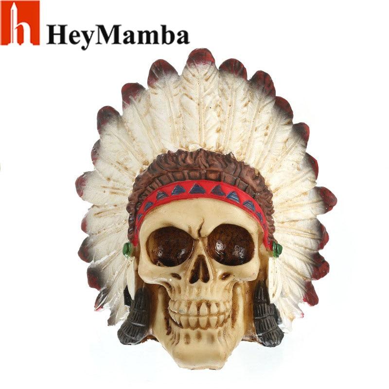 HeyMamba Human Skull Resin Tribal Leader Mohawk Skull Model Indian Warrior Skull Statue Sculpture Decoration