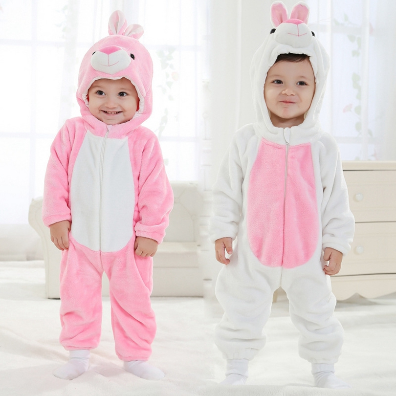 Baby Boy Girl Hooded Rompers Animal Cosplay Costume Newborn Infant Jumpsuit Pink White Rabbit Clothes