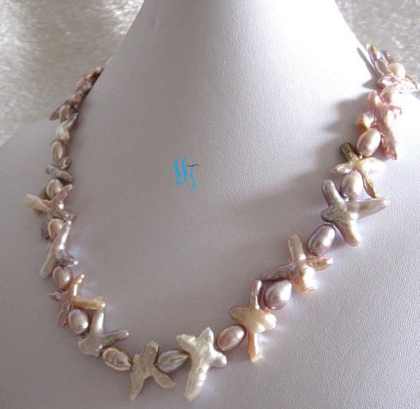 LIVRAISON GRATUITE >@@> N1459 7-8mm Lavande Riz Croix Perle D'eau Douce Collier Bijoux