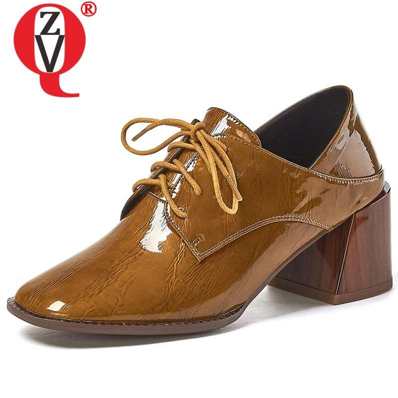 ZVQ แฟชั่นรองเท้าแต่งงานสีขาวสีแดงสีเหลือง cow สิทธิบัตรหนังฤดูใบไม้ผลิปั๊มสำนักงานรองเท้าส้นสูงรองเท้าผู้หญิง drop การจัดส่ง-ใน รองเท้าส้นสูงสตรี จาก รองเท้า บน   1
