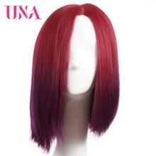 UNA peluca de cabello humano liso brasileño de 12 pulgadas, postizo de media mano, corte BOB, no Remy, Color #1 # 1B #2 #4 #27 #30 #33 #2/33