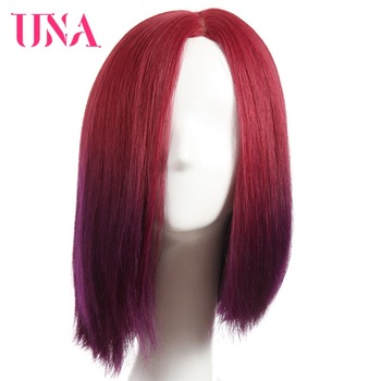 UNA Brazilian Straight Human Hair Wig 12 Half Hand Tied BOB Wigs Non-Remy Hair Color #1 #1B #2 #4 #27 #30 #33 #2/33 una peruvian straight human hair wigs hand tied lace wigs non remy hair 10 color 1 1b 2 4 27 30 33 99j bug 350 2 33