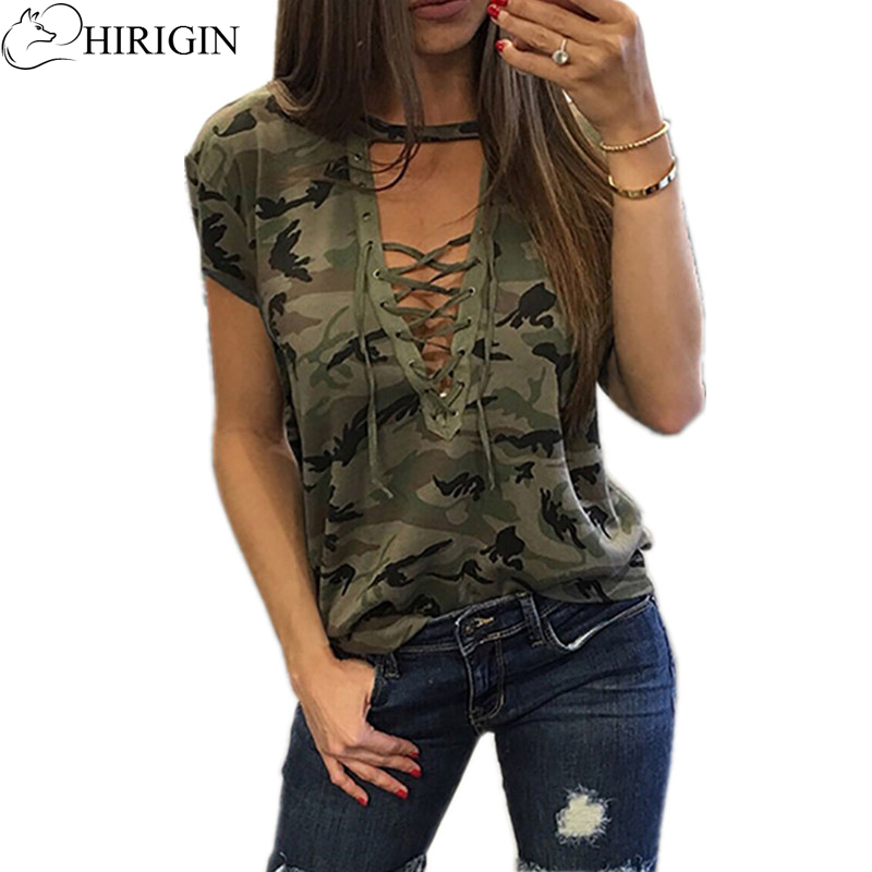 2018 Camouflage Print Women Long Sleeve Slim   Blouse   Fashion V-Neck Lace-up Lady Sexy Tops Army Style Casual Female   Shirt   Tee