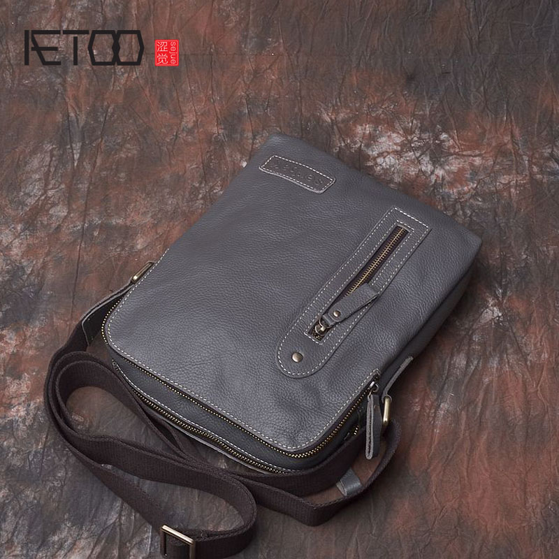AETOO Crazy horse skin men bag shoulder Messenger daily leisure first layer of leather leather hand retro bag package