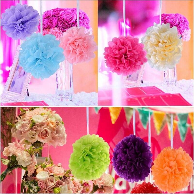 5 unids 30 cm Papel de Seda pompones Bolas de Flores Artificiales Decoración de