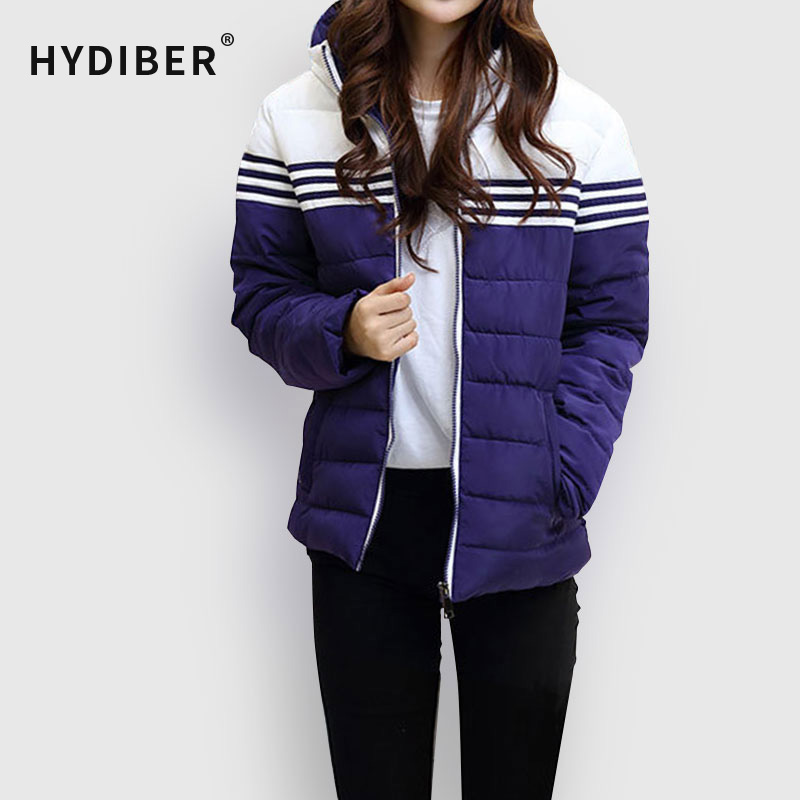 ФОТО Plus Size Winter Coat Women 2016 Short Thick Cotton Padded Hooded Parkas Wadded Women's Winter Jacket Striped Outerwear Tops Z29