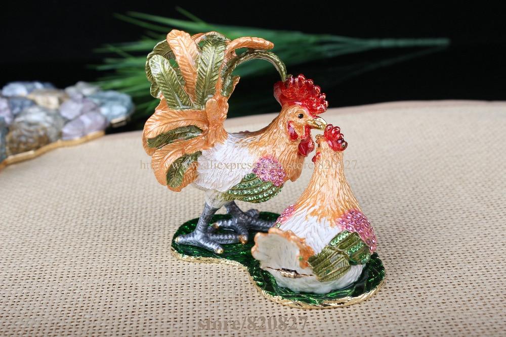 Boîte à bibelots coq & poulet décoré poulet poussin artisanat étain émail cristal poulet bibelot boîte pour bijoux anneau tenant - 3