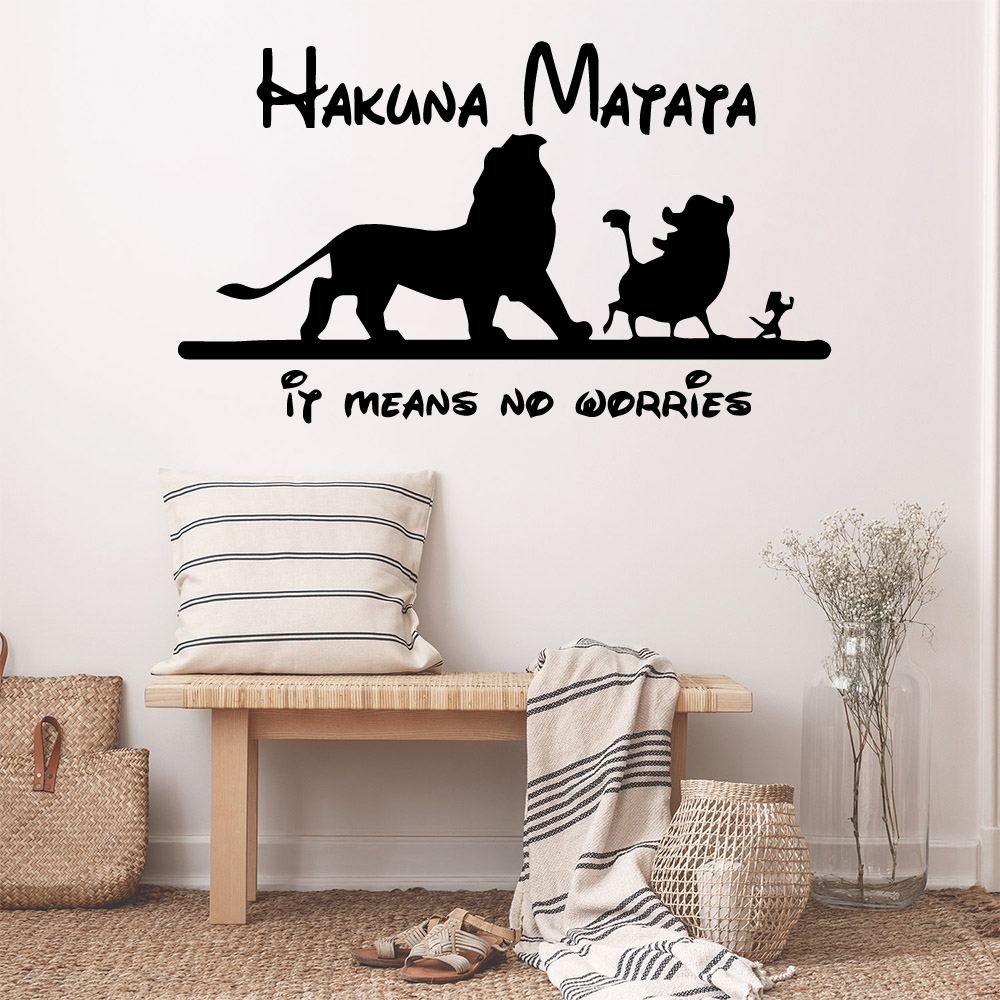 Cartoon Hakuna matata Waterproof Wall Stickers Wall Art ...