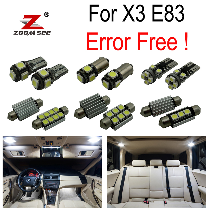 15pcs Error Free LED Reading Bulb Interior Dome map Light Kit for BMW X3 E83 (2004-2010) 18pc canbus error free reading led bulb interior dome light kit package for audi a7 s7 rs7 sportback 2012