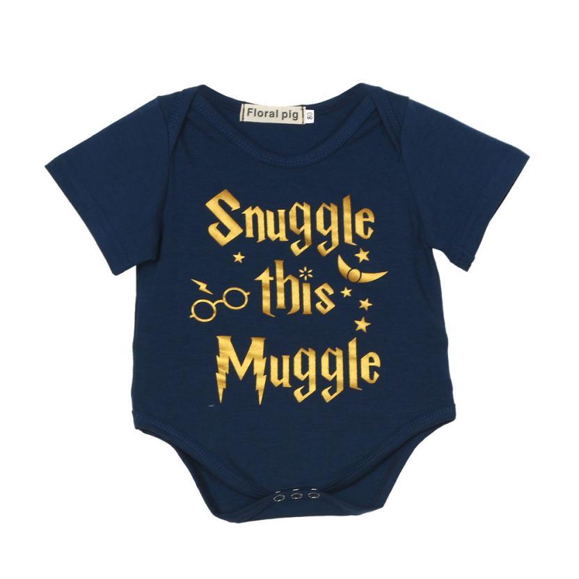 Summer Printed Baby Bodysuit Muggle Short Sleeve Printed Bodysuit for boys girls Newborn Infant Baby Letter Print Bodysuit 6-18M