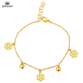 24K Pure Gold Bracelet Real 999 Solid Gold Bangle Simple Beautiful Snowflake Trendy Classic Party Fine Jewelry Hot Sell New 2020 1