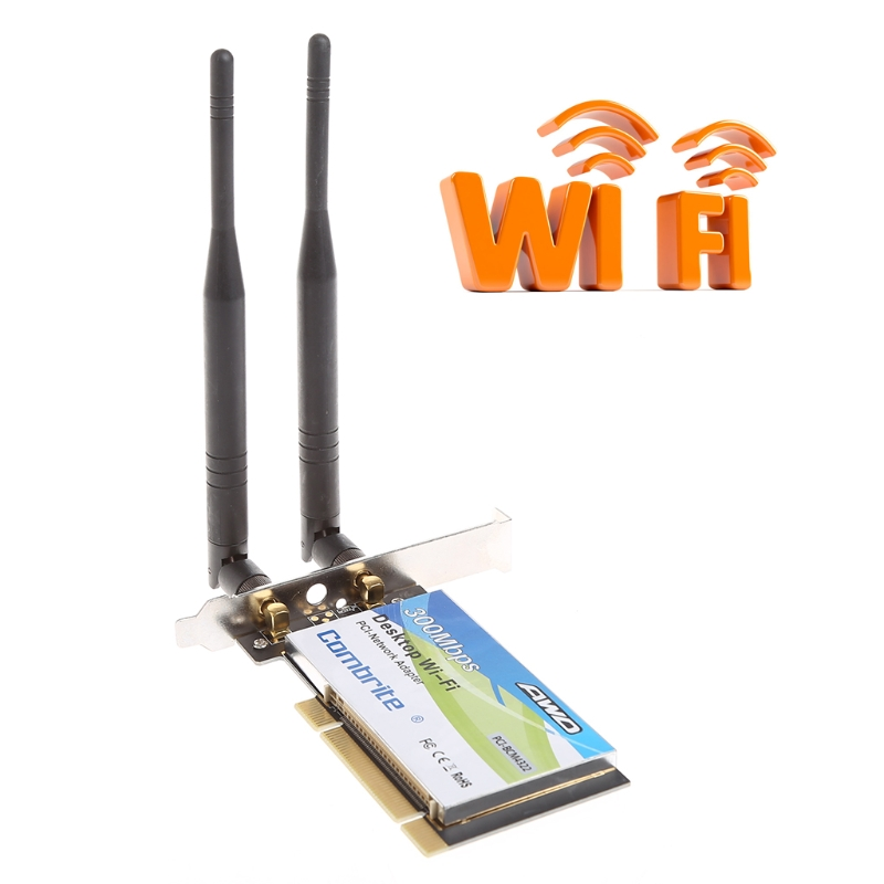 2018 High Quality BCM4322 300Mbps 2.4G Wireless Wlan Wifi PCI-E Card Desktop Adapter With 6dBi Wifi Antenna High Speed