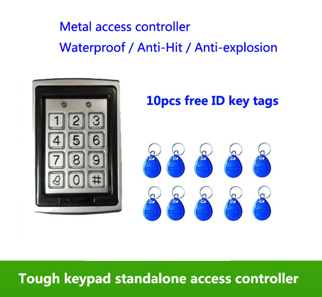 Metal Waterproof Access Control 125K RFID Card Reader Keypad,standalone access control , 10pcs ID tags,min:5pcs proximity rfid 125khz em id card access control keypad standalone access controler 2pcs mother card 10pcs id tags min 5pcs