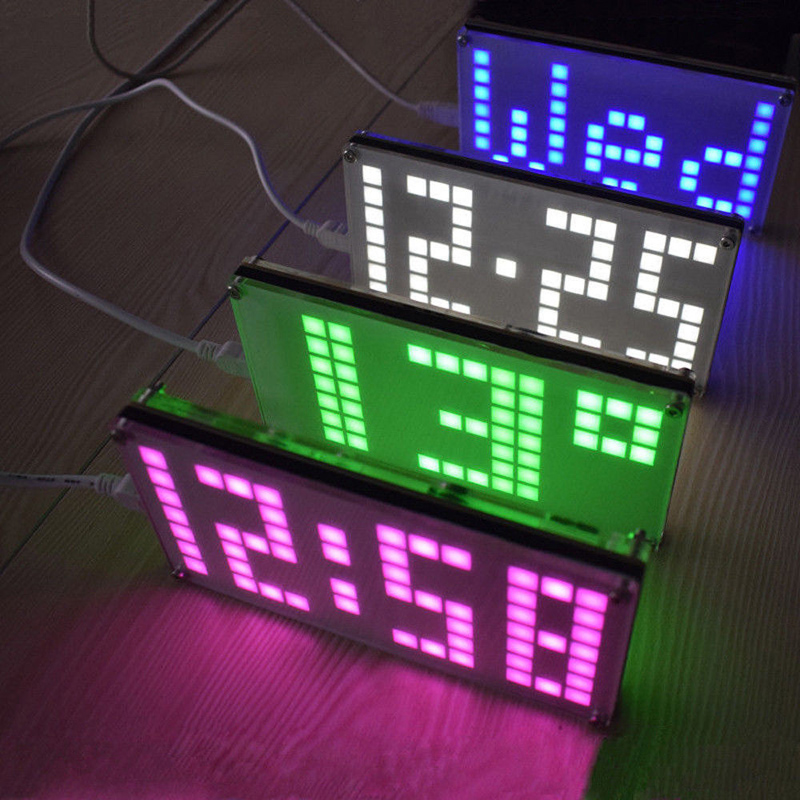 DS3231 DIY Digital LED Clock Kit digit Light Control Temperature Date LED Lattice Clock Kit Time Display image