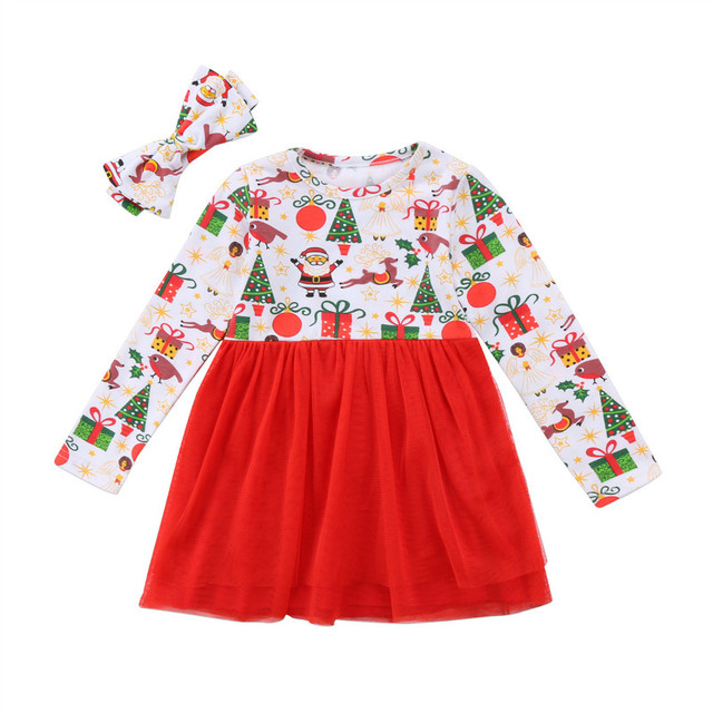 8aaa2f502 Pudcoco Toddler Kid Cute Baby Girls Christmas Gift Pattern Dresses ...