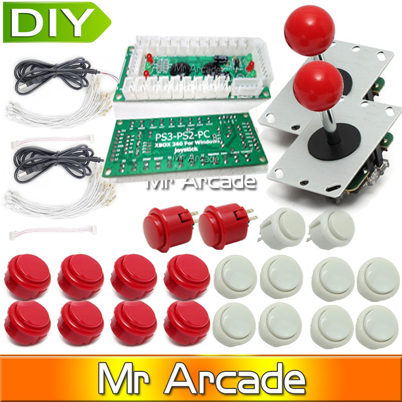 Arcade Joystick DIY Kit   USB Encoder To pc/ps2/PS3  Arcade Sanwa Joystick + Sanwa Push Buttons For Arcade Mame