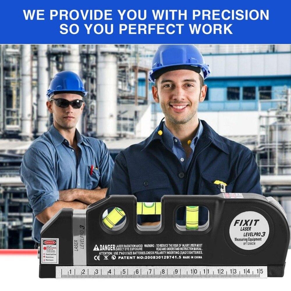 Multipurpose Laser Level Horizon Upright Measure 8FT Aligner Standard and Metric Ruler Multipurpose Measure Level Laser Black