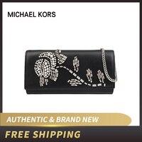Michael Kors MK Bellamie Black Leather EW Clutch Handbag 30H8SI0C3Y/30H8GI0C3Y