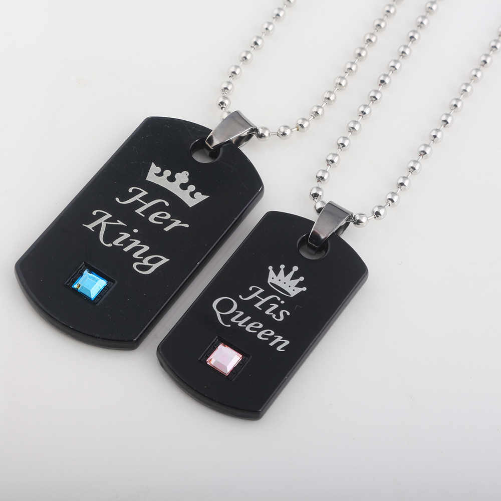 400e2891b7 ... Her King & His Queen Couple Necklaces lovers pendant fashion crystal  jewelry for women and men ...