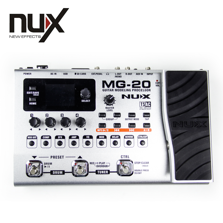 NUX MG 20 Guitar Modeling Processor 2 4 inches color TFT LCD Built in Tuner New