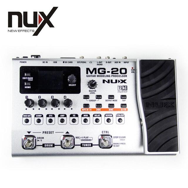 NUX MG-20 الغيتار النمذجة المعالج 2.4 بوصة لون TFT LCD المدمج في موالف جديد CTRL Footswitch