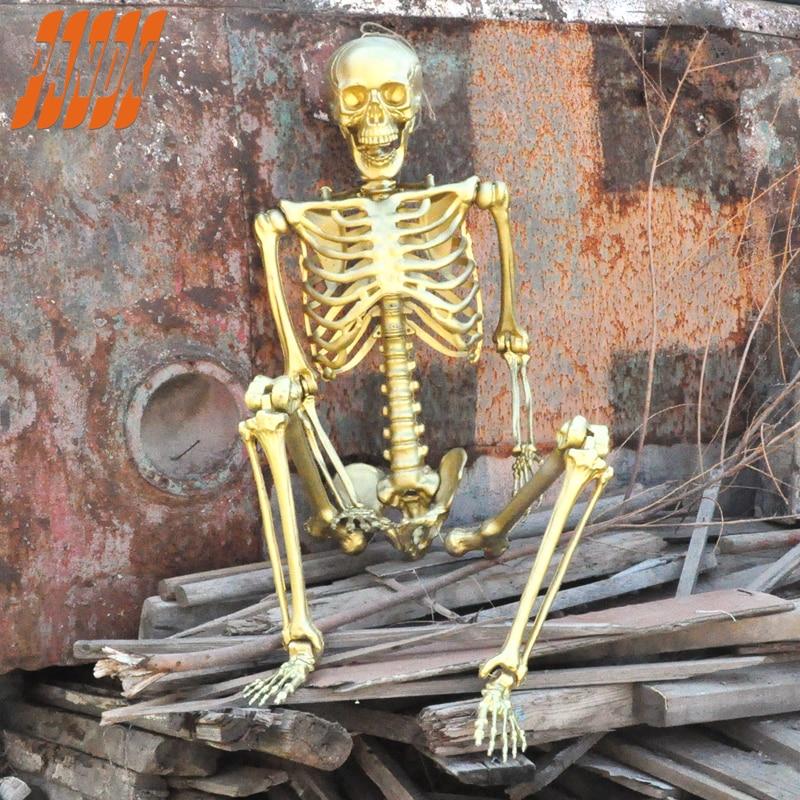 65'' Halloween Props Hanging Golden Ghost Skeleton Scary