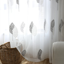 Elka Modern Floral Tulle Curtains for living room Embrodered Sheer the Bedroom Kitchen Window