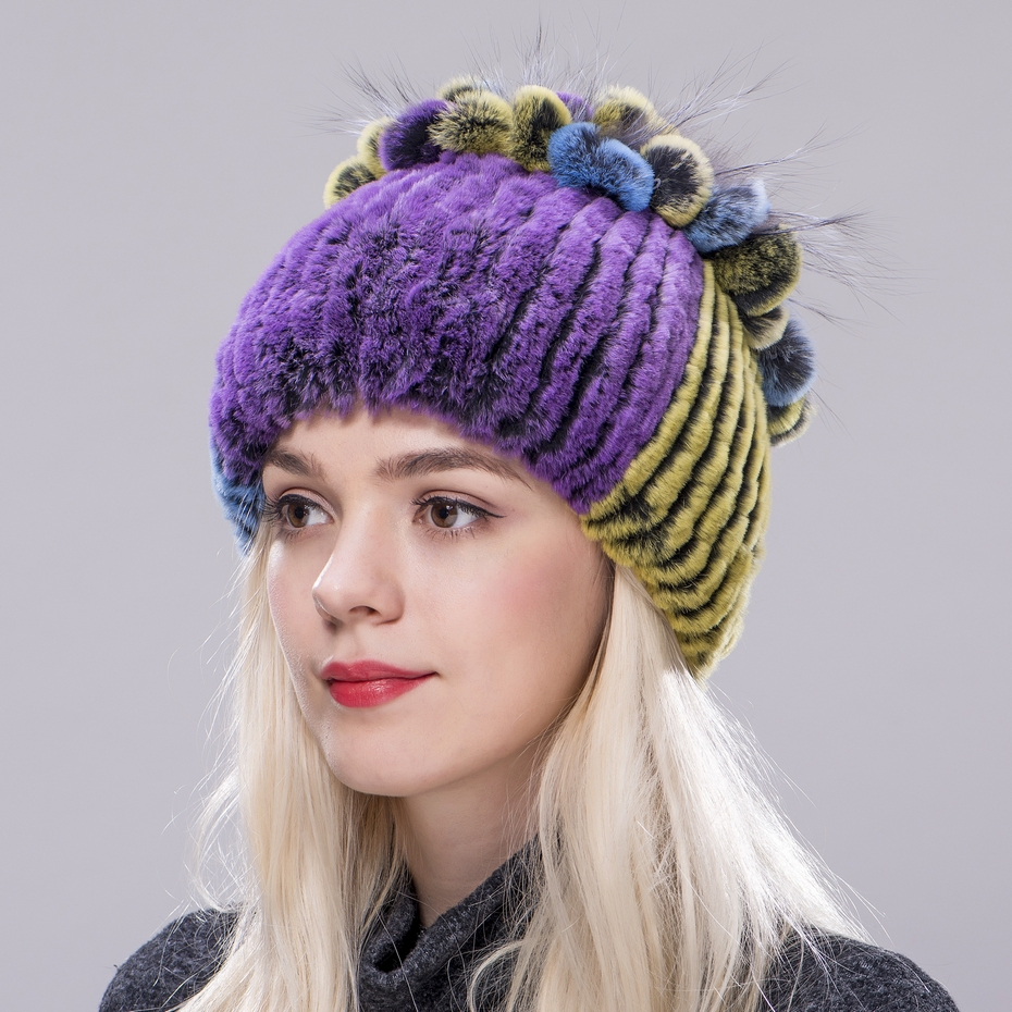 ZDFURS* Winter Fur Hat for Women Real Rex Rabbit Hats with  Silver Fox Flower Knitted Beanies Caps New Cap