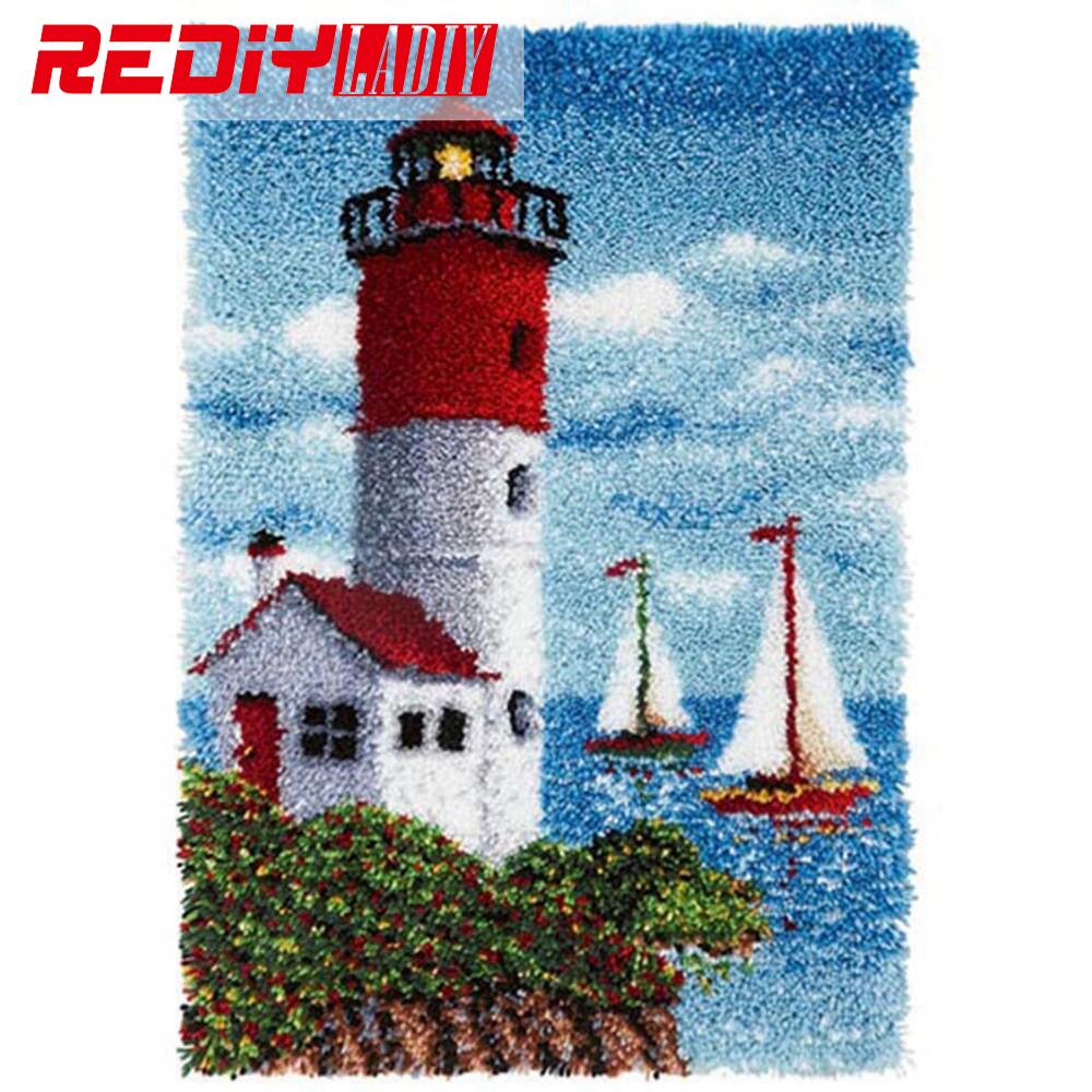 REDIY LADIY Latch Hook Rug Unfinished Yarn Embroidery Crocheting Cushion Wall Tapestry Floor Mat Lighthouse Carpet Rug 110x75cm