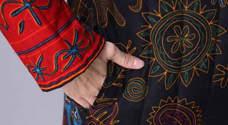 Tempo Donne Retro Delle Cotone Inverno Collare E Il Lino Del Blu Per Caldo 2019 Stampa Pulsante Giacca Di Vestaglie rosso Libero Nuovo Modo S 3xl nwxPqCPp
