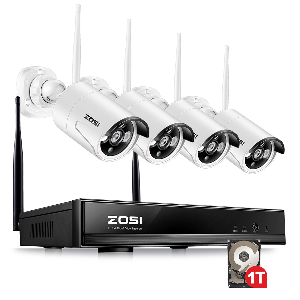 ZOSI 4CH CCTV Système 1080 p NVR 4 pcs 1.3 MP IR En Plein Air P2P Sans Fil Wifi IP CCTV Caméra de Sécurité système de Surveillance Kit 1 tb HDD