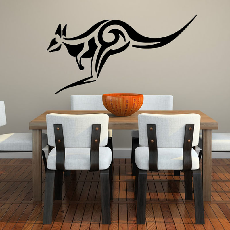 Simple Design Tribal Kangaroo Wall Stickers Home Decor Living Room Black Printed Animal Mural