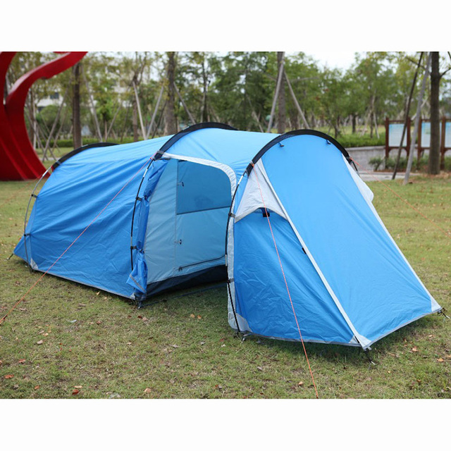 3-4 Person Waterproof Double Layer Tunnel Tent One Bedroom & One Living Room Family Party Outdoor Camping Tent