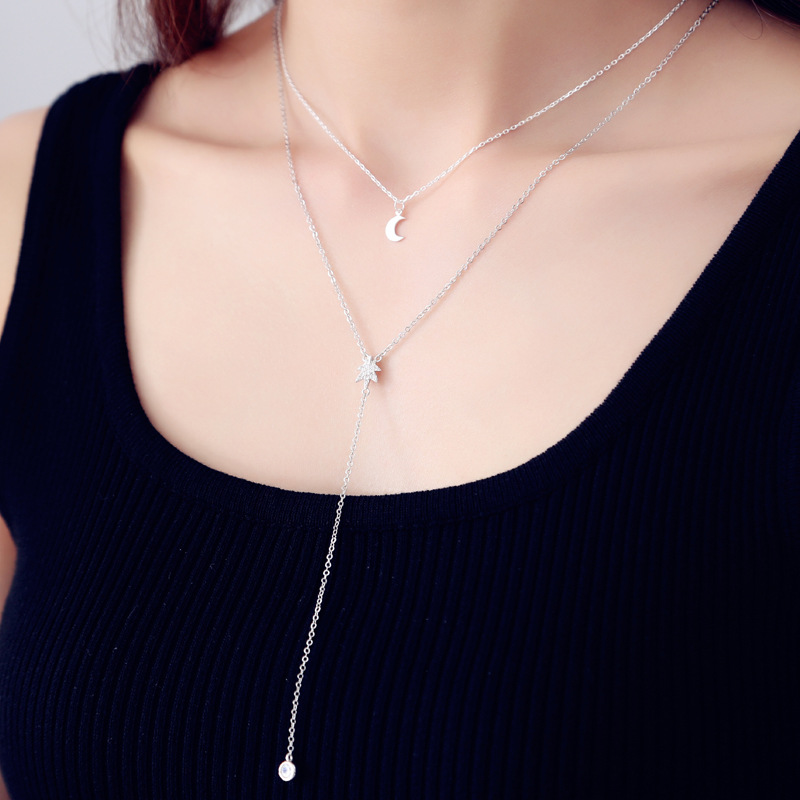 DreamySky Sweet 925 Sterling Silver Long Moon Multilayer Maple Plant Necklaces For Women Wedding Jewelry Christmas Gift