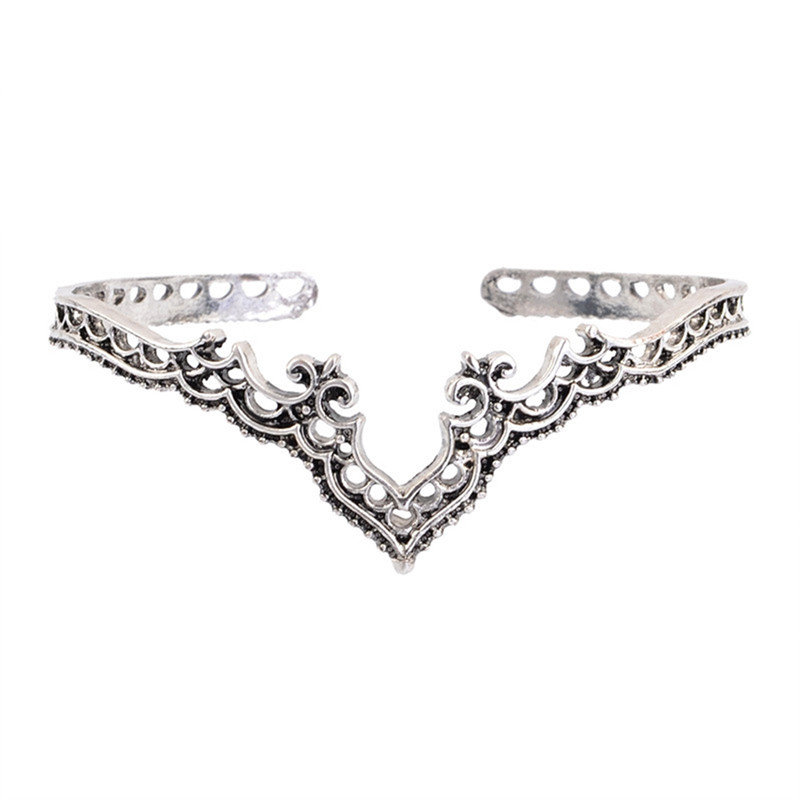 Indian Style V-Shape Carved Cuff Bracelet for Women