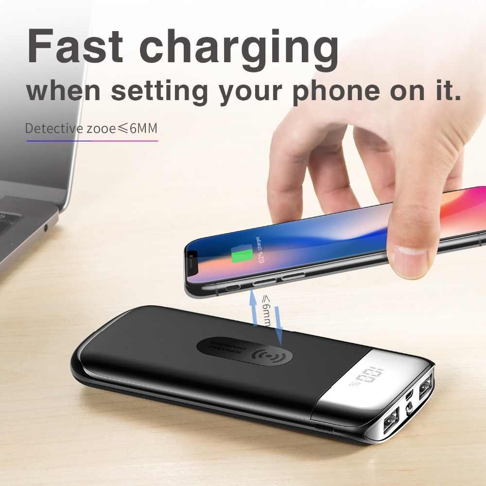 30000mah כוח בנק חיצוני סוללה בנק מובנה אלחוטי מטען Powerbank נייד צ 'י אלחוטי מטען עבור iPhone XS
