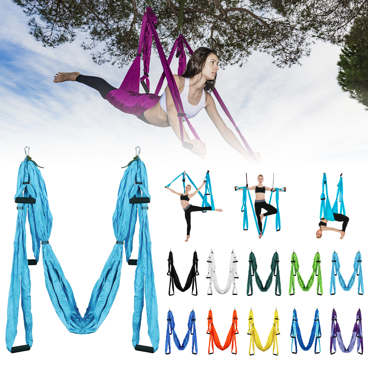 Aerial Yoga Flying Hammock Inversion Swing Anti Gravity Inversion Trapeze Aerial Sling Colors Anti-tearing Soft and Comfortable relefree 14 colors aerial flying anti gravity yoga hammock swing yoga body building workout fitness inversion tool freedrop