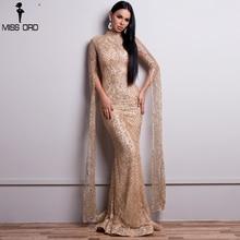 Missord 2019 Women Sexy  High Neck Long Sleeve Split Glitter Dresses Female Maxi Elegant  Party Dress Vestdios  FT9283