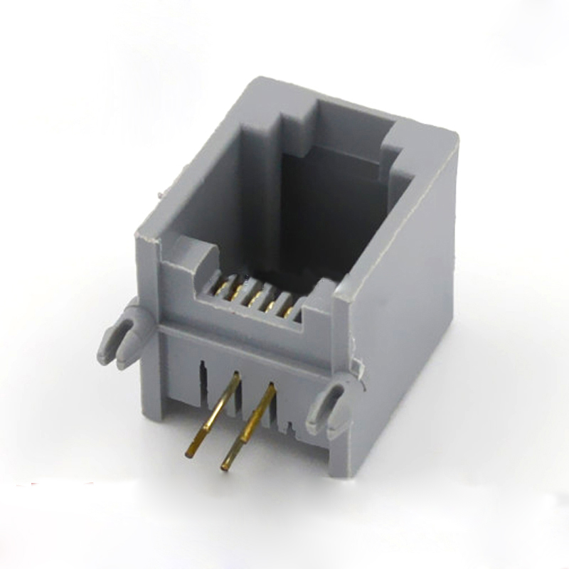 100pcs Rj11 Connector 4p Rj11 Cable Adapter Socket Plug 90 Degrees Plastic Pcb 6p4c Gray 4pin