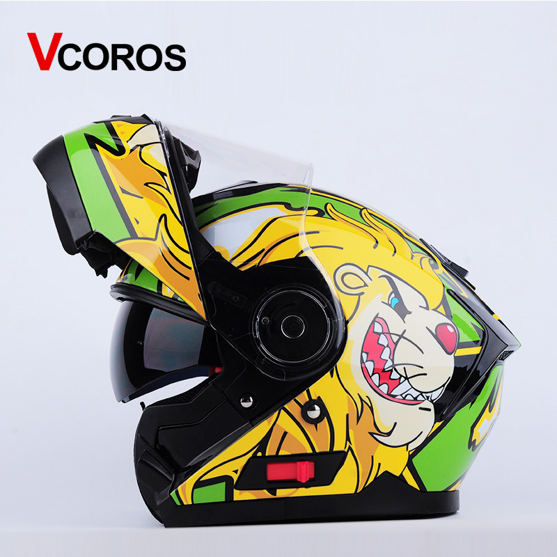 Vcoros flip up motorcycle helmet Double lens modular Men full face mototbike helmet with inner shield moto helmets DOT approve 2017 new knight protection gxt flip up motorcycle helmet g902 undrape face motorbike helmets made of abs and anti fogging lens