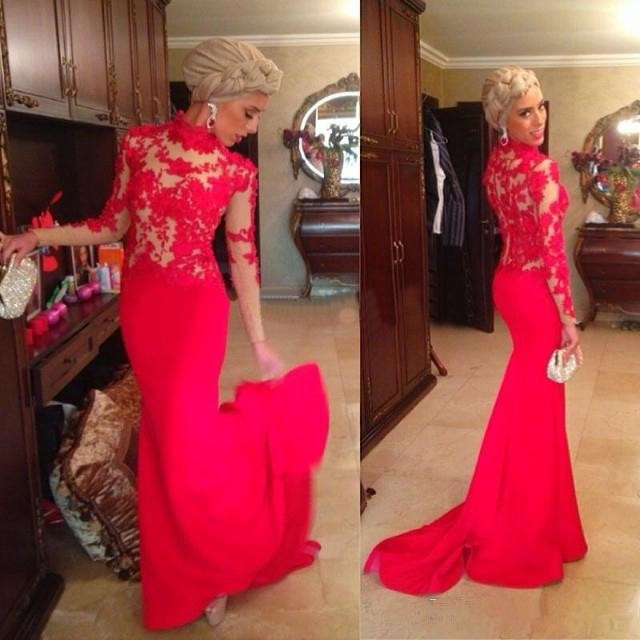Elegant Vintage Lace Mermaid Evening Dresses Long Sleeves Red Appliques Lace Formal dress abiye Evening dress robe de soiree in Evening Dresses from Weddings Events