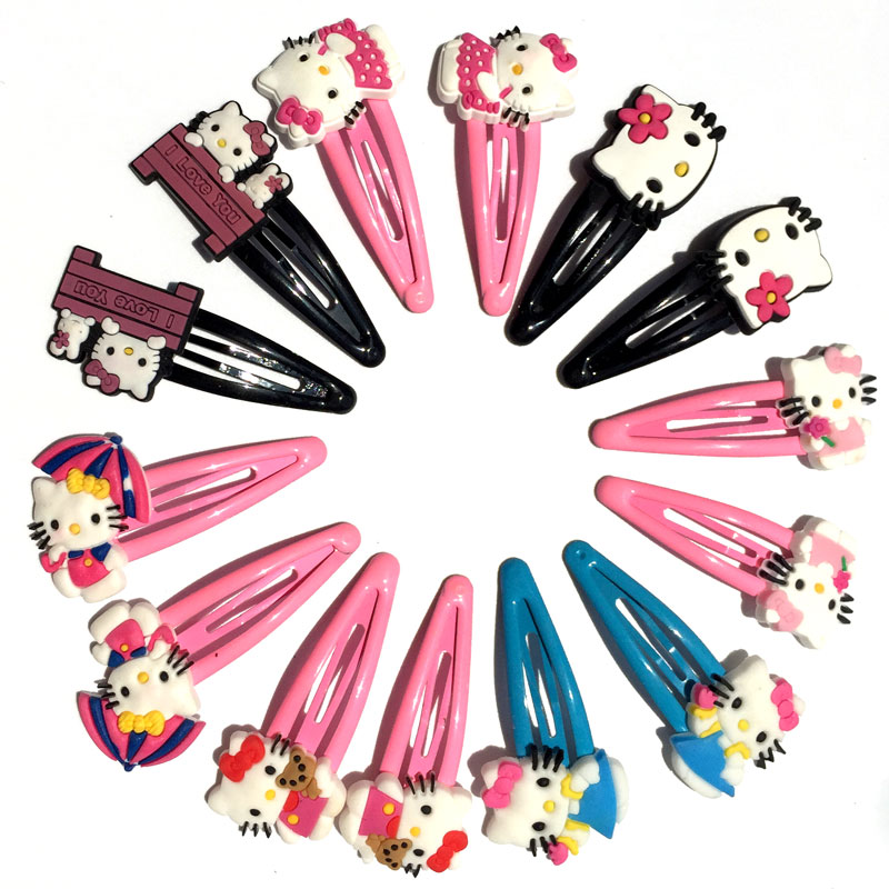 2pcs 7Styles Kitty Baby Clip Hairpins Lovely Girls Barrettes Kids Headwear Multicolor Hair Clip Hair Band Travel Accessories ts 2pcs chiffon flowers children girls hair accessories rubber bands barrettes girl headwear bow hair clip