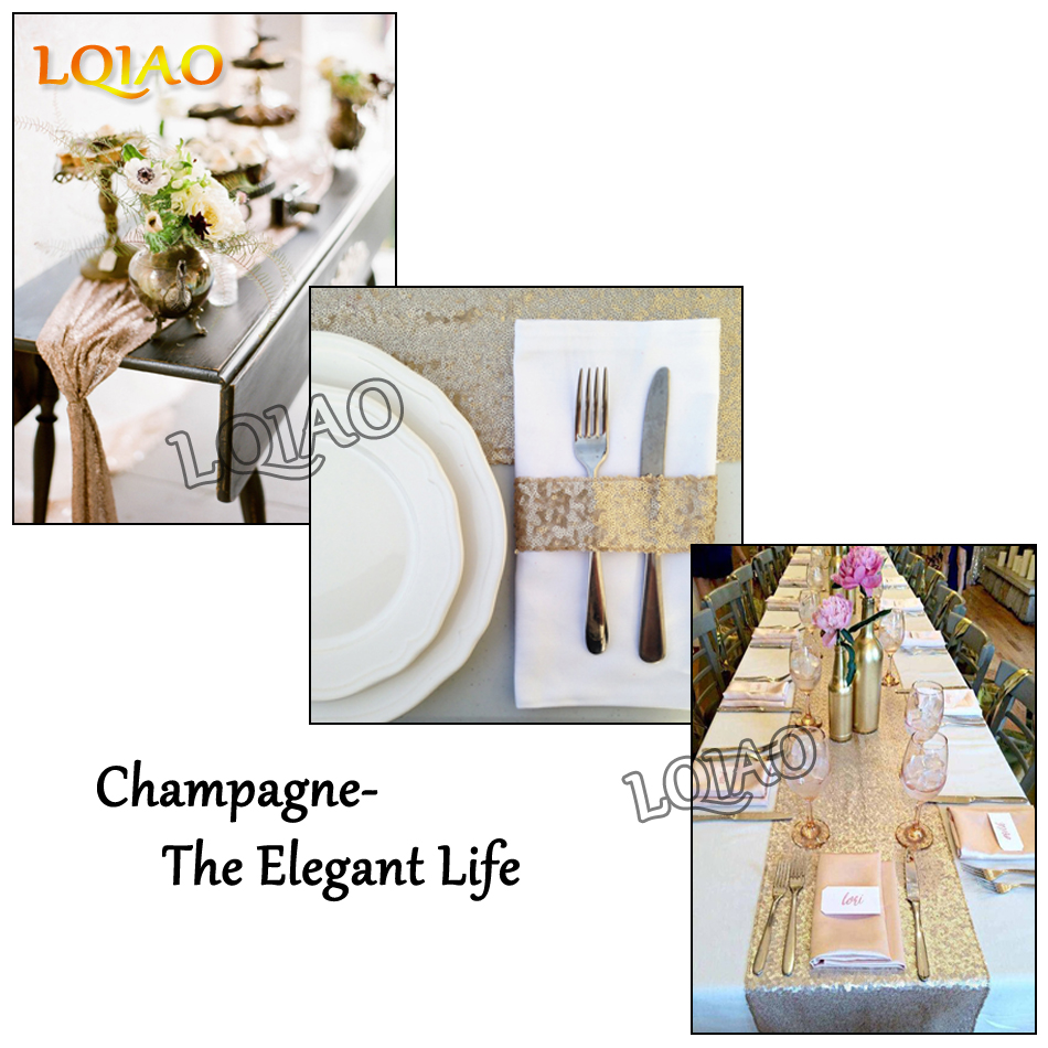New30x180cm Glitter Gold Champagne Silver Sequin Table Runner ...