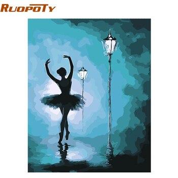 RUOPOTY marco abstracto Ballet bailarina DIY pintura por números Kits acrílico pintado a mano pintura al óleo sobre lienzo para decoración del hogar
