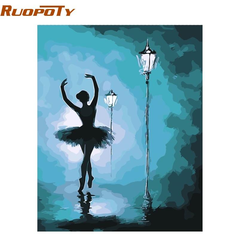 RUOPOTY marco abstracto bailarina de Ballet DIY pintura por números ...