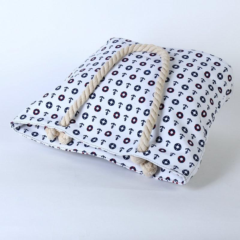 Rdywbu 2017 Summer Anchor Printed Canvas Handbag Women's Casual Big Rope Tote Travel Bag Luxury Designers Holiday Beach Bag B133 3