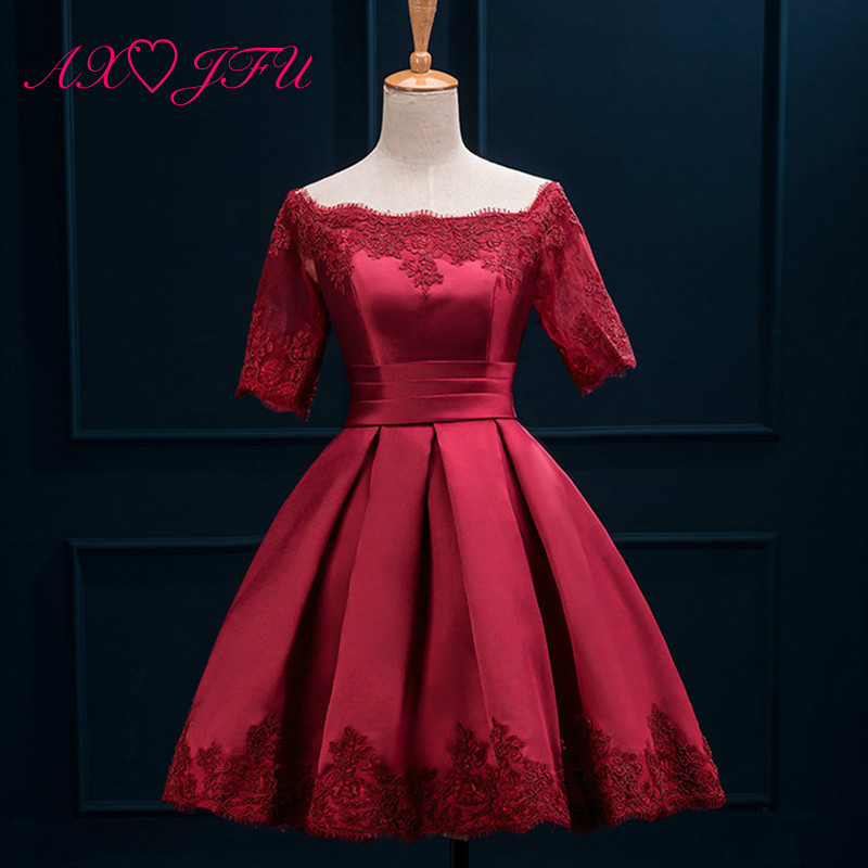 AXJFU wine red lace Evening Dresses princess vintage green short champagne boat neck flower evening dress