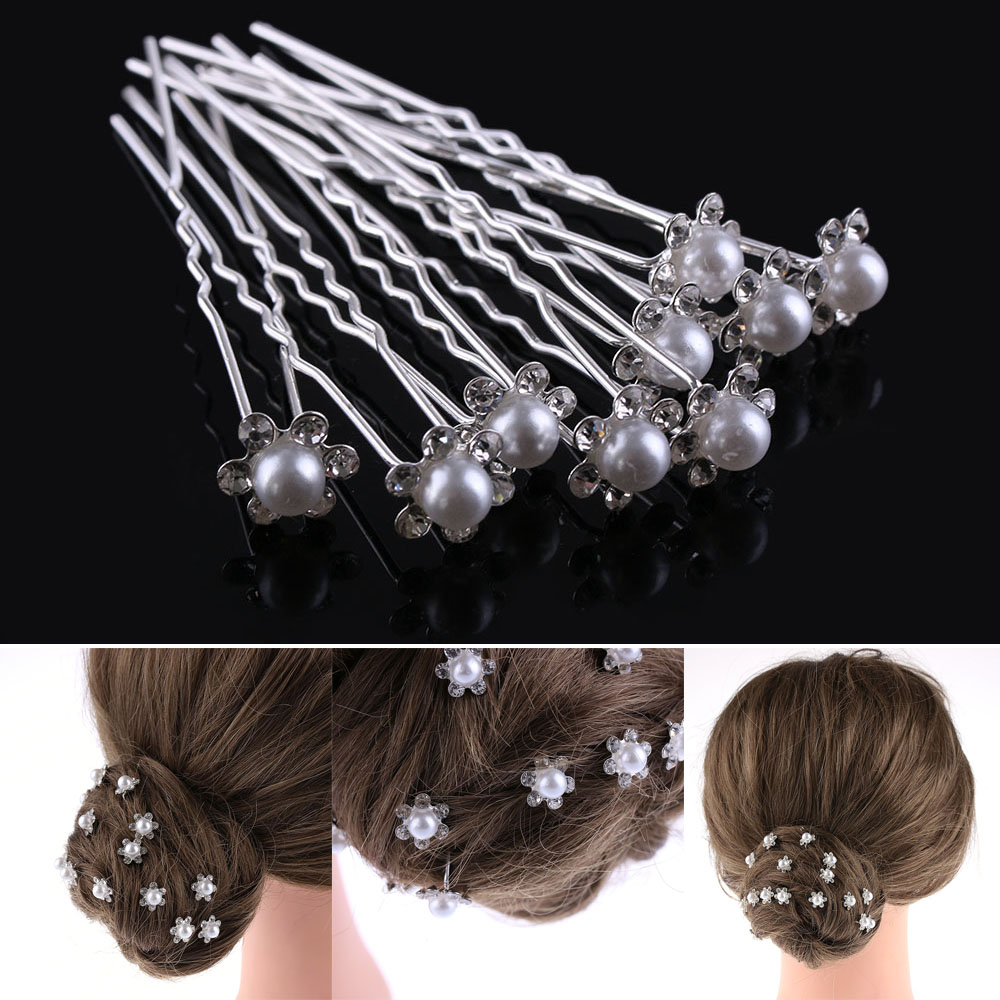 fashion women silver wedding pearls hairpins crystal vine bridal head wear hair accessories diamond headpiece 20pcs/pack Wedding Bridal Pearl Hairpins Flower Crystal Rhinestone Diamante Hair Clips Bridesmaid Women Hair Jewelry Accessories