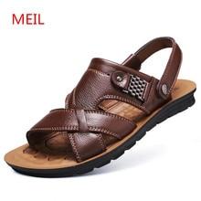 Mens Sandals Genuine Leather Fashion Breathable Male Sandal Summer Men Beach Shoes Sandalias Slippers